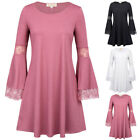 Lady's Vintage Shirt Evening Long Bell Lace Sleeve Cotton A-Line Party TEA Dress
