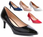 LADIES POINTED MID HEEL FAUX  PATENT SMART WORK PARTY COURT SHOES PUMPS SIZE 3-8