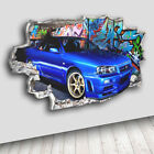 C311 Cool Blue Car Graffiti Living Decal Canvas 3D Smashed Hole Wall Vinyl Room
