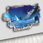 C361 Titanic Iceberg Boat Ocean Decal Canvas 3D Smashed Hole Wall Vinyl Room