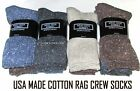 3 Pairs Womens USA Made Soft Cotton Blend Rag Crew Socks Med Thicknesss & Weight