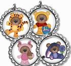 Little Bears Bottle Cap Necklace with Chain Handcrafted Kid's Bottle Cap Jewelry