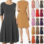 TheMogan S~XL Womens Sleeveless Stretch Cotton Pocket A-line Fit & Flare Dress