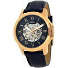 Fossil Grant Automatic Selfwind Skeleton Dial Blue Leather Mens Watch ME3102