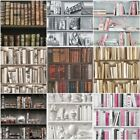 bookshelf wallpaper - BOOKCASE PATTERN WALLPAPER WHITE, NATURAL FEATURE WALL VARIOUS DESIGNS