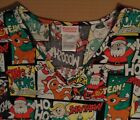 Rudolph Santa Claus Christmas Printed S/S Scrubs V Neck T Shirt Top UnSx S-3X Nw