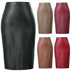 Leather Ladies High Waisted Back Split Ball Bodycon Midi Pencil Party Club Skirt