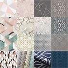 GEOMETRIC WALLPAPER - GLITTER METALLIC TEXTURED SMOOTH - FEATURE WALL DECOR