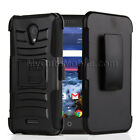 Alcatel Verso/Cameo X/Ideal Xcite Case -Black Hybrid Hard+Skin Holster/Kickstand