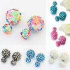 Vogue Flower Crystal Style Earrings Double Side Stud Earrings Big Beads LAUS