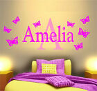 PERSONALISED NAME BUTTERFLY WALL ART STICKER GIRLS BEDROOM DECOR