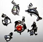 Selection of silver & crystal dolphin pendant necklaces lovely ladies gift idea