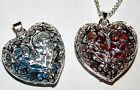 HEART PENDANT FILLED WITH BLUE, RED CRYSTALS INSIDE LOVELY LADIES GIFT