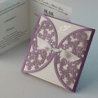 Laser Cut Purple Butterflies Wedding Invitation Cards with Envelopes,Free print