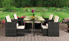 9pc Rattan Outdoor Garden Patio Furniture Set - 4 Chairs 4 Stools & Dining Table