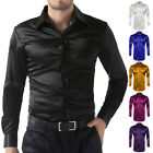 Men's Long Sleeve Casual Shirt Luxury Wedding Silk-Like Satin Dress Shirt Tops