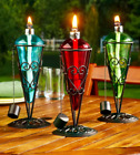 Outdoor Table Torch Light Glass Oil Burner Tabletop Patio Decor Green Red Blue