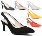 NEW LADIES MID KITTEN HEEL SLINGBACK SANDALS CELEB POINTED TOE PARTY PROM SHOES