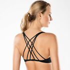 Women's Removable Pads Yoga Top Cross Strappy Back Sports Bra