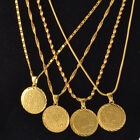 Sparking 18K Yellow Gold Filled Necklace &Coin Shape Pendant Engagement Jewelry