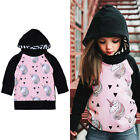 Kids Baby Girls Cotton Casual Long Sleeve T-shirt Pollover Hooded Tops Blouse UK