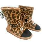 Kids Size 10-2 Boys Novelty Brown Giraffe Warm Winter Boots (425)