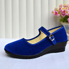 Nis Womens Ladies Mid Wedge Heel Mary Jane Hotel Work Strap Shoes Ballet Cotton