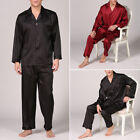 Gents Men Satin Silk Pyjama Set Silky Summer Lounge wear Pajamas Long sleeve Pjs