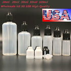 Wholesale LDPE Empty Squeezable Juice Liquid Vape Dropper Bottles w/ Black Caps