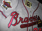 New Atlanta Braves 24 Deion Sanders Throwback 2patches sewn Gray Jersey Mens