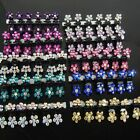 6 12 PCS Lots Girls Sweet Rhinestone Crystal Flower Mini Hair Claws Clips Clamps