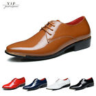 YJP Mens Business Pointed Toe Shinny Leather Shoes Lace up Formal Dress Oxfords