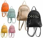 LADIES FAUX LEATHER STUDDED RUCKSACK RETRO BACKPACK SCHOOL FASHION SHOULDER BAG