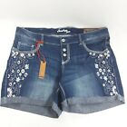 NEW Amethyst Jean Shorts 0 9 13 16 18 20 22 24 Floral Embroidered Denim