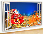 M465 Santa Christmas Town Living Canvas Picture Poster Wall Art Stickers Room