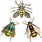 Vintage Charm Bee Insects Bumblebee Gold Plated Crystal Rhinestone Brooch Pin US