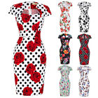 Women Floral 50s Vintage Style Pin Up Formal Cocktail Party Wiggle Pencil Dress