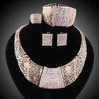 Fashion Women 18k Gold Plated Rhinestone Necklace Wedding Party Jewelry Sets