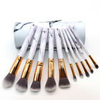 10PCS Marble Makeup Brush Set Foundation Eyeshadow Powder Brush Cylinder Case