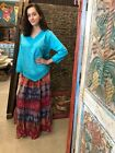 Long A line Gypsy Maxi Skirt Georgette Lace Tie&Dye Earthy colors Hippie Skirts