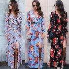 Women Side Split Long Dresses Sexy Long Sleeve Flower Printed Fashion Dress