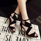 Women Open Toe High Heel Suede Sandals Criss-Cross Ankle Strap Sandals shoes