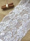 """White French Lace Wide Delicate Rose 6.75""""/17 cm Bridal Craft Trim"""