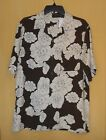 Island Republic men button brown ivory floral Hawaiian shirt top 100% silk M $78