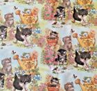 CAT KITTENS garden : 100% cotton  fabric : By the 1/2 metre