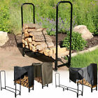 Sunnydaze Firewood Log Rack Black Steel Storage Multiple Sizes