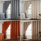 Pair of Plain Waffle Soft Thick Brushed Eyelet Ring Top Fully Lined Curtains