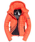 New Womens Superdry Hooded Box Quilt Fuji Jacket Shocking Red