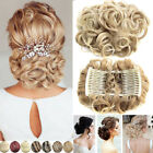 Hot Wave Curly Combs Clip In Hair Bun Chignon Piece Updo Cover Hair Extension FO