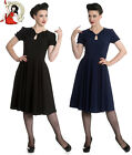 HELL BUNNY RILEY 40s WARTIME VINTAGE style BLACK NAVY DRESS XS-4XL